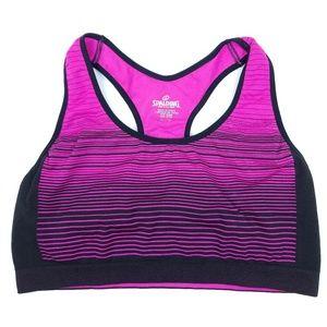 Spalding Pink/Black Athletic Top Spandex Sport Bra